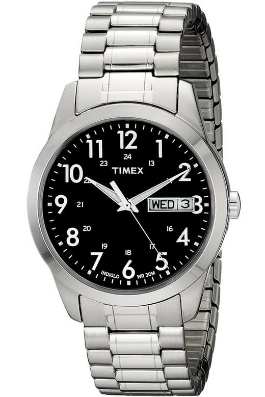 Timex® Men's Silver-Tone Analog Expansion Band Dress Watch #T2M932