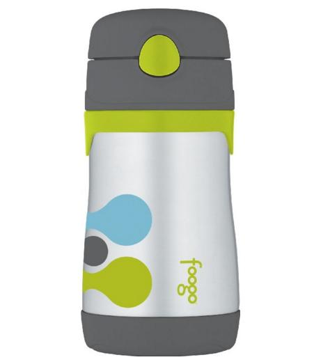 THERMOS FOOGO Vacuum Insulated Stainless Steel 10-Ounce Straw Bottle, Tripoli Pattern