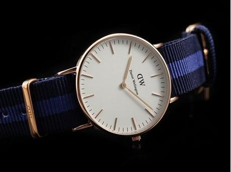 Daniel Wellington Classic Swansea Eggshell White Dial Purple Nylon Ladies Watch 0504DW