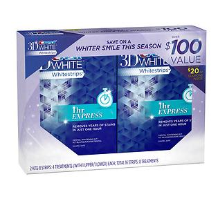 Crest 3D White Whitestrips 1 Hour Express Double Pack, 4 Treatments