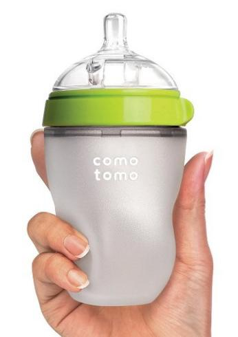 Comotomo Natural Feel Baby Bottle, Green, 8 Ounces @ Amazon.com