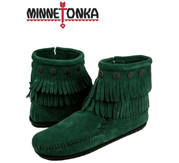 Minnetonka Double Fringe Side Zip Boot On Sale @ 6PM.com