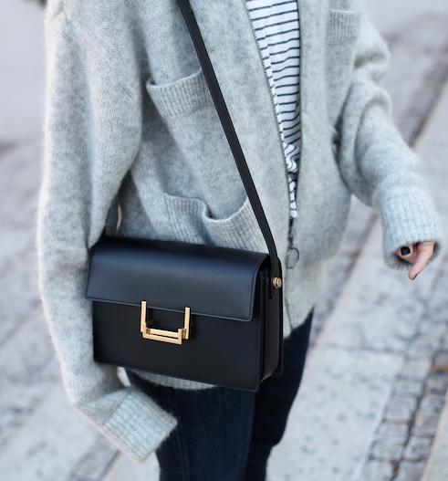 Saint Laurent Leather Shoulder Bag Black On Sale @ MYHABIT