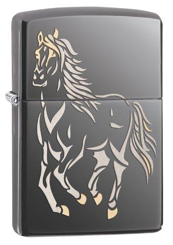 Zippo Horse Lighter, Black Ice