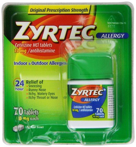 Zyrtec Allergy Relief Tablets 10mg, 70 Count