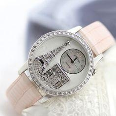 Melissa Paris Eiffel Tower Ladies Watch with Rhinestone Crystals and Genuine Leather Band