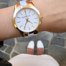 Michael Kors Women's Slim Runway White Acetate and Gold-Tone Stainless Steel Bracelet Watch 42mm MK4295