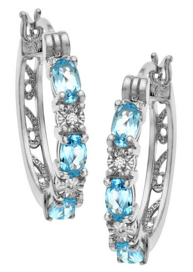 1 5/8 ct Blue Topaz Hoop Earrings with Diamonds