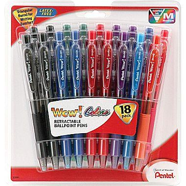 $4 Pentel® WOW® Retractable Ballpoint Pens, Medium Point, Assorted, 18/Pack