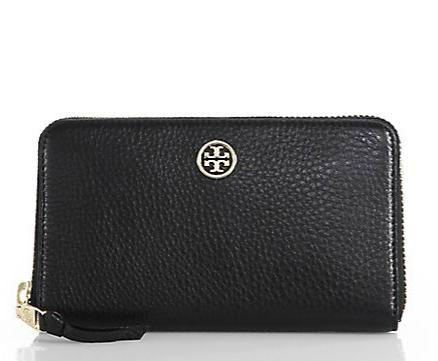Tory Burch Robinson Pebbled Continental Wallet @ Saks Fifth Avenue