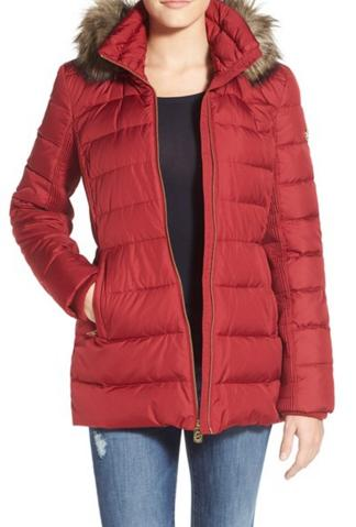 MICHAEL Michael Kors Hooded Down & Feather Fill Coat with Faux Fur Trim