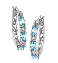 1 5/8 ct Sky Blue Topaz Hoop Earrings with Diamonds in Silver Plate