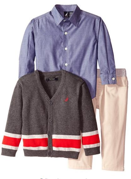 Nautica Little Boys' 3 Piece Set Woven Sweater and Twill Pant