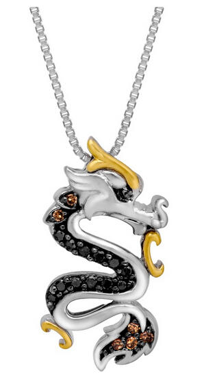1/8 ct Black & Champagne Diamond Dragon Pendant