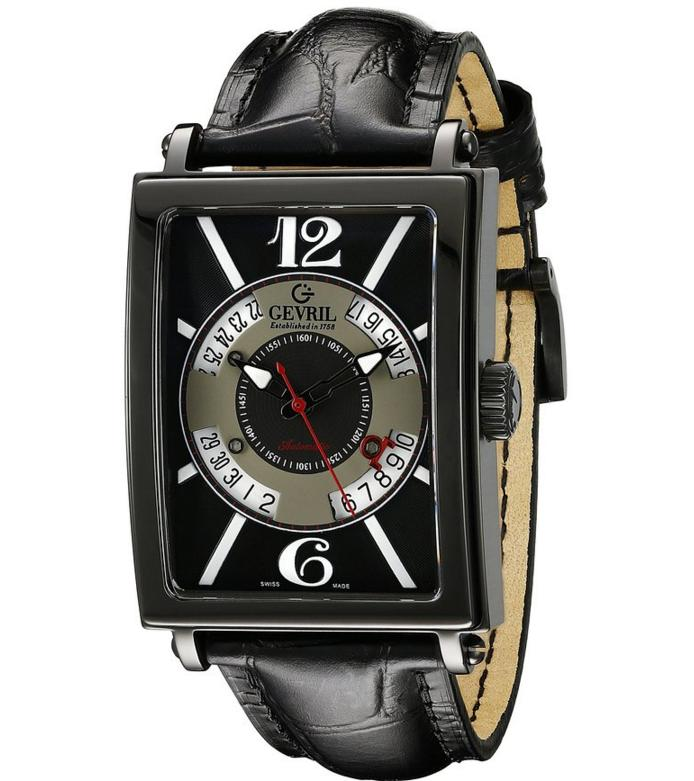 Gevril Men's Avenue Of Americas Automatic Self Wind Black Watch