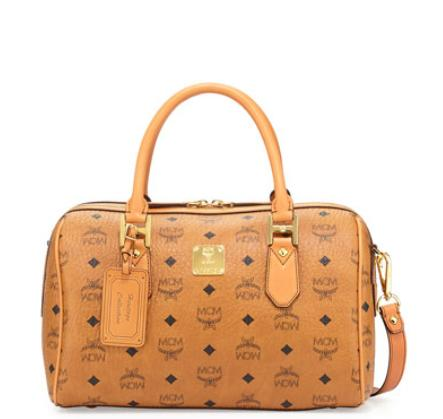 $1000 MCM Heritage Boston Satchel Bag, Cognac