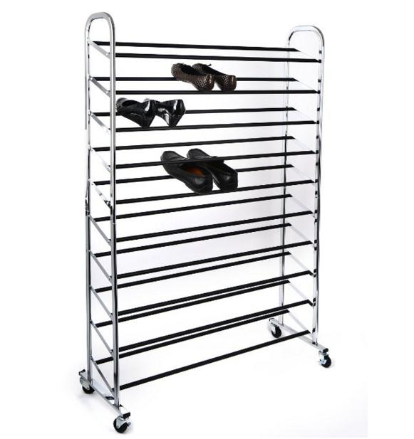 35.00 Home it shoe organizer shoe storage Chrome Supreme 50 Pair Shoe Rack closet shoe organizer