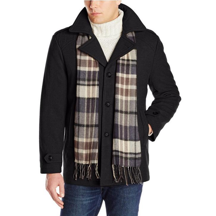 London Fog Men's Bleecker Coat with Scarf and Quilted Lining