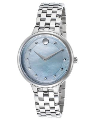 Movado Women's Trevi Diamonds Stainless Steel Blue MOP Dial Watch MOV-0606811