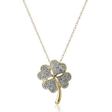 10k Yellow Gold Diamond Four Leaf Clover Pendant Necklace, 18