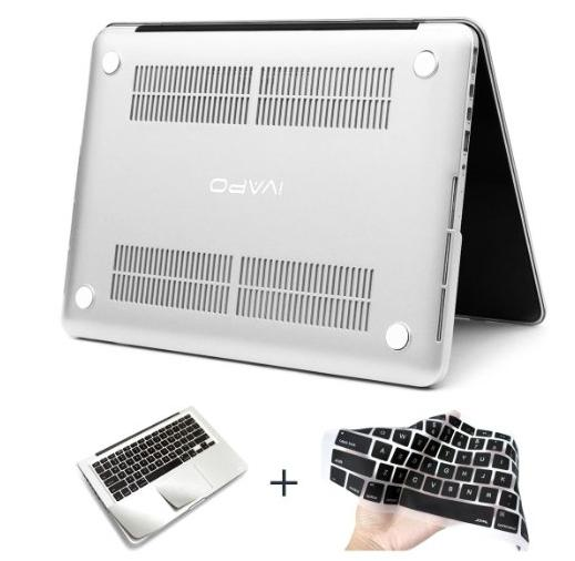 3.99 iVAPO 2 in 1 Frosted Matte PC Hard Snap on Case Cover [Attached Keyboard Cover & Palm Rest Protector] Unique Silver Color for 11.6 Macbook Air