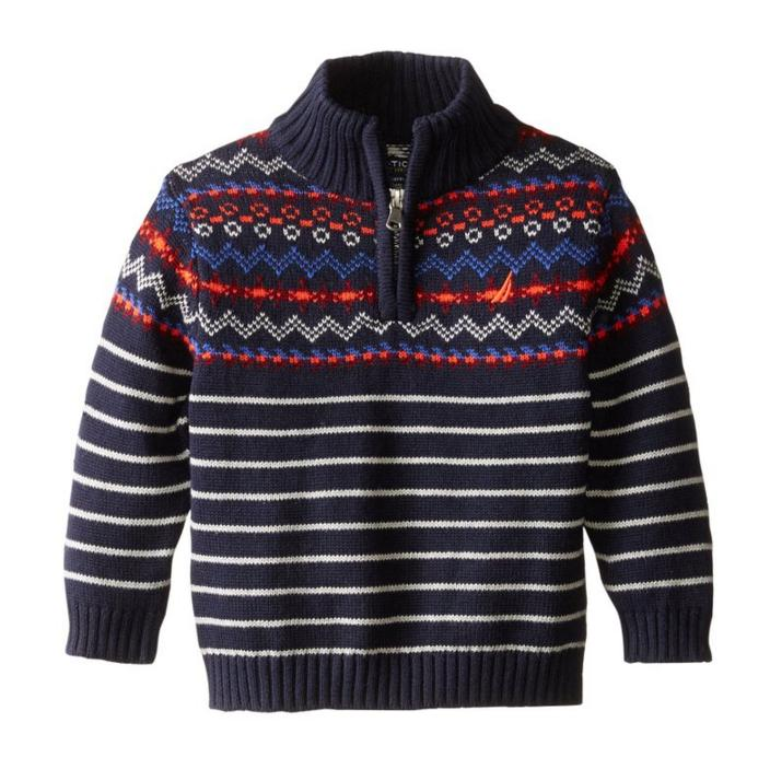 Nautica Baby Boys' Zip Neck Fairisle Sweater with Stripe