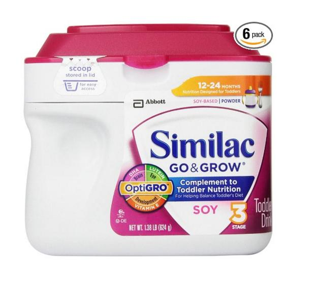 $71.04 Similac Go & Grow Stage 3, Soy Based Toddler Drink with Iron, Powder, 22 Ounces (Pack of 6)