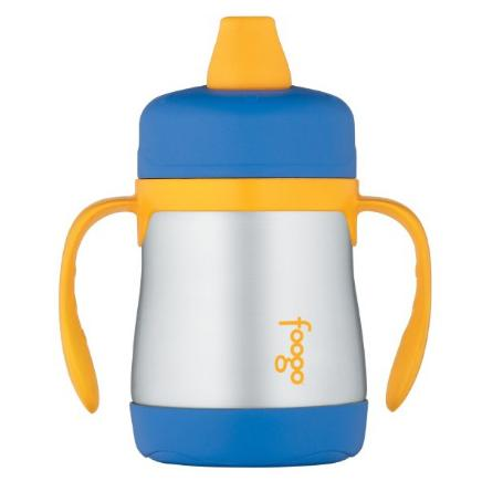 $9.84 THERMOS FOOGO Vacuum Insulated Stainless Steel 7-Ounce Soft Spout Sippy Cup with Handles, Blue/Yellow