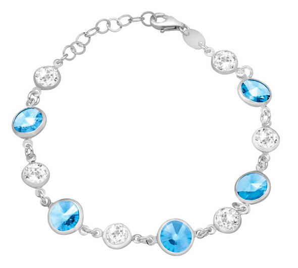 Bracelet with Blue & White Swarovski Crystals