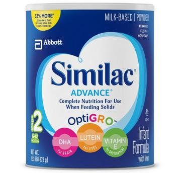 Similac Advance Infant Formula with Iron, Stage 2 Powder, 1.93 Pounds Can, Pack of 4