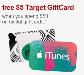 Free $5 Target GC with $50 Purchase on Select Gift Cards at Target