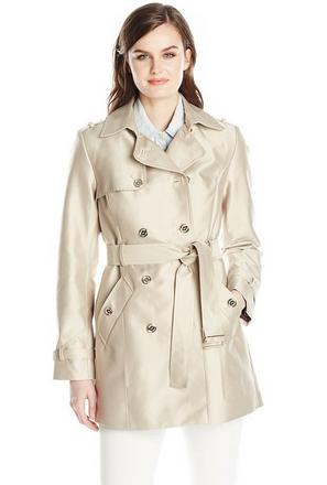 Calvin Klein Women's Double Breasted Polished Satin Trench Coat