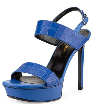 Saint Laurent Crocodile-Embossed Platform Sandal Sale @ Neiman Marcus