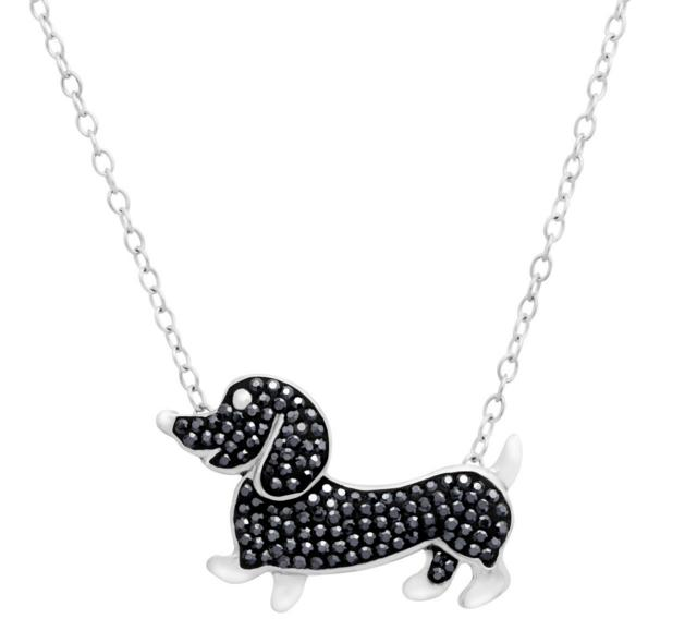 Crystaluxe Dachshund Necklace with Jet Swarovski Crystals in Sterling Silver