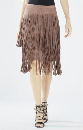 RASHELL FAUX-SUEDE FRINGE PENCIL SKIRT