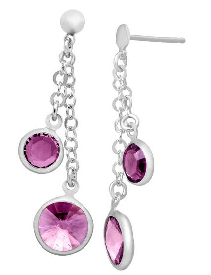 Drop Earrings with Amethyst Swarovski Crystals