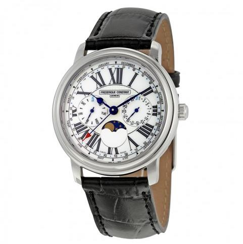 FREDERIQUE CONSTANT Business Timer Moonphase White Dial Black Leather Men's Watch