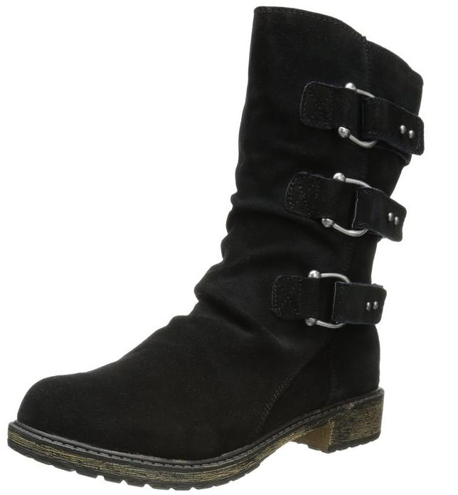 Skechers Women's Mid 3 Buckle Ruched Vamp Motorcycle Boot