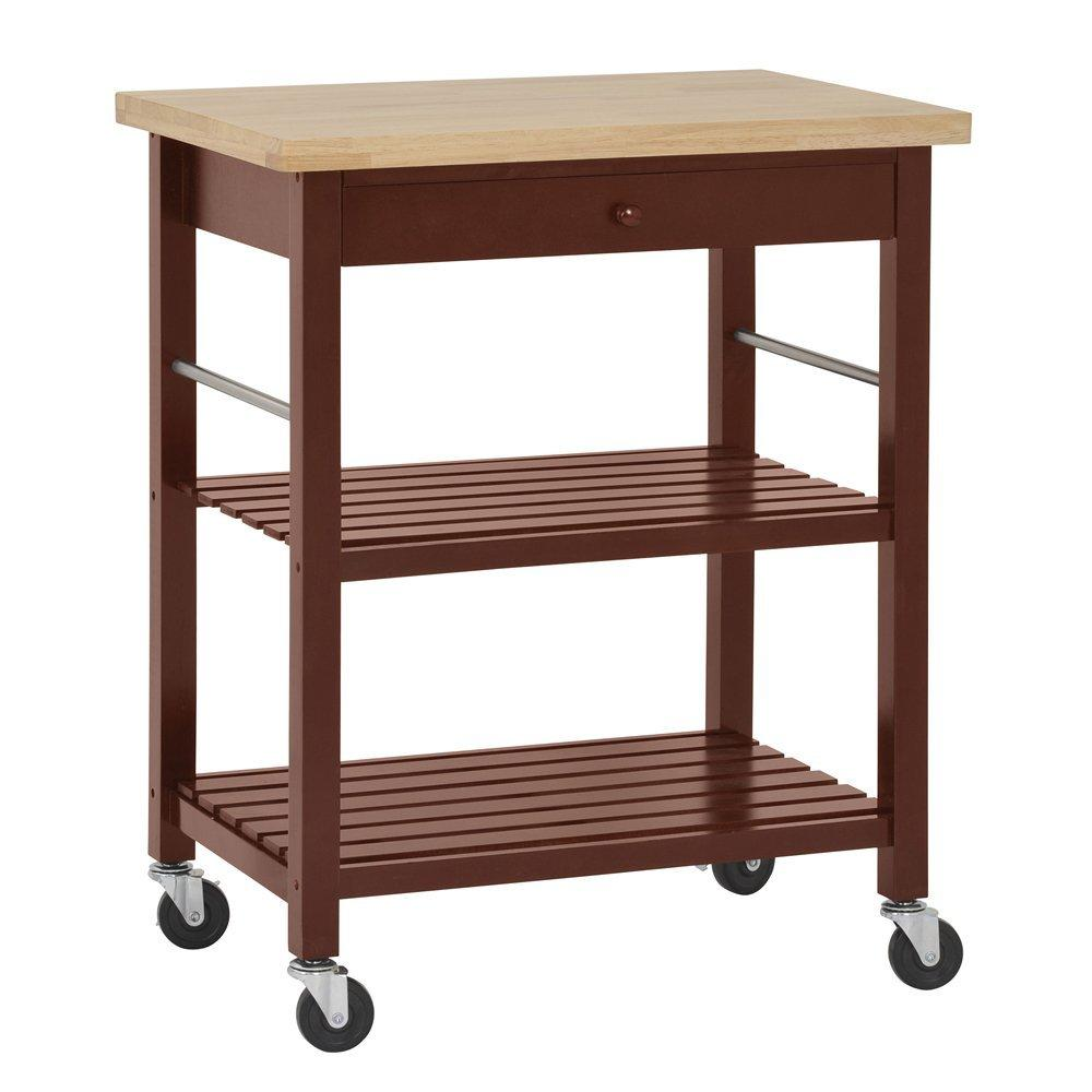 Sandusky Lee MKT292036 Wood Kitchen Utility Cart with Wood Top