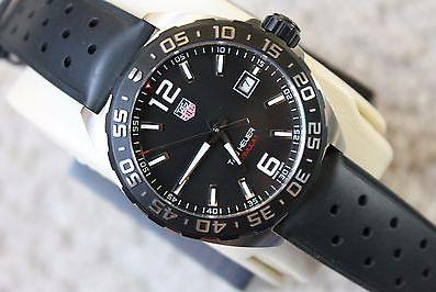 TAG Heuer Formula 1 Black Dial Black Leather Men's Watch WAZ1110.FT8023