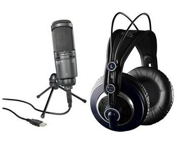 Audio-Technica AT2020USB+ Cardioid Condenser USB Mic W/AKG K 240 MKII Headphone