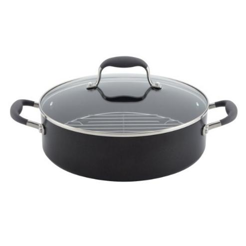 Lowest price! Anolon Advanced Hard Anodized Nonstick 5-1/2-Quart Covered Braiser with Rack. Gray