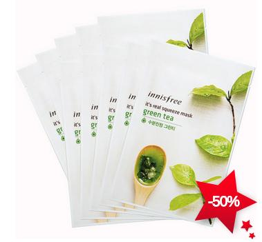 Innisfree It's Real Squeeze Green Tea Mask 1pack, 10pcs