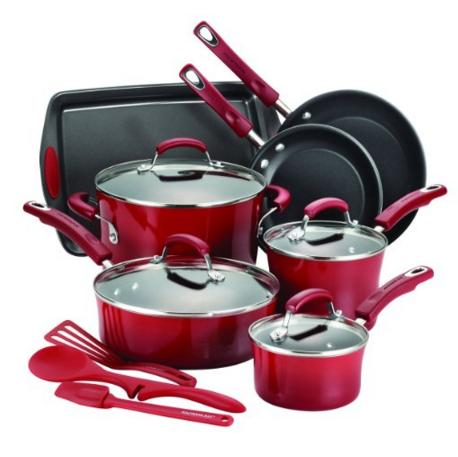 Lowest price! Rachael Ray 14-Piece Hard Enamel Nonstick Cookware Set, Red