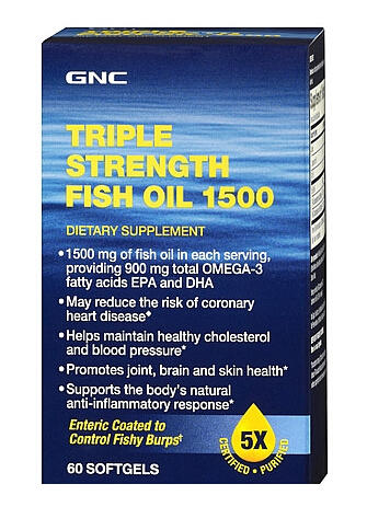 2 For $18 GNC Triple Strength Fish Oil 1500 60 softgels