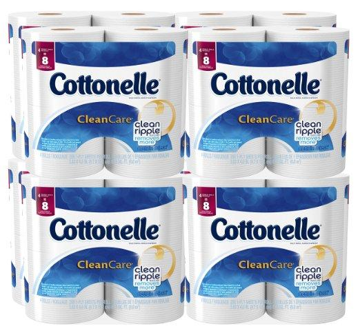 $13.19 Cottonelle Clean Care Toilet Paper, Double Roll, 4 Count (Pack of 8)