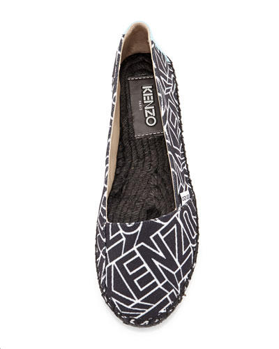 Kenzo  Logo Printed Canvas Espadrille Black/White