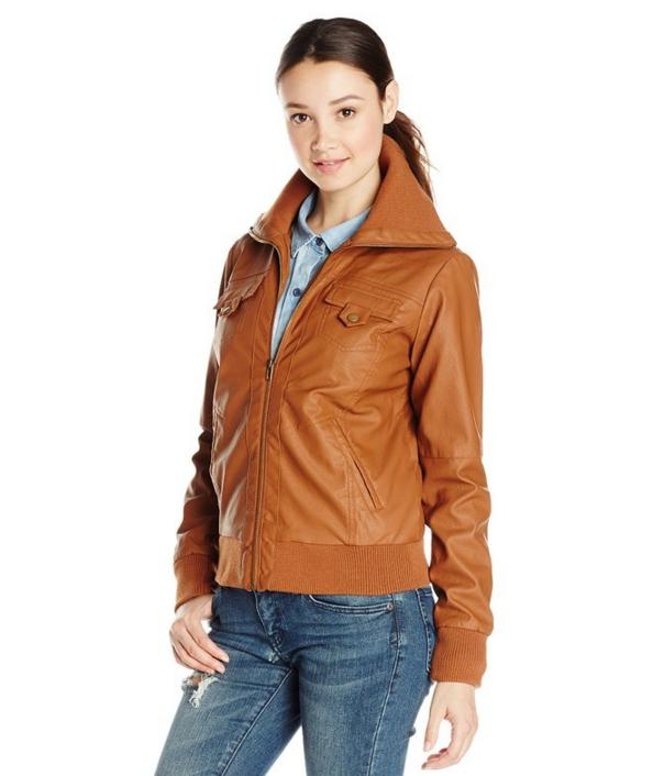 Jason Maxwell Women's Faux Leather Moto Jacket with Knit Collar