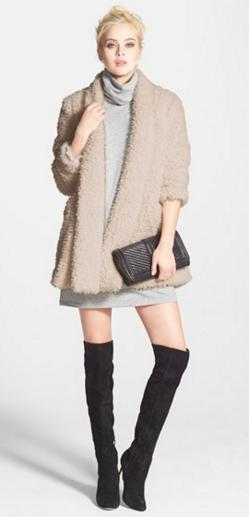 Kenneth Cole New York 'Teddy Bear' Faux Fur Clutch Coat @ Nordstrom