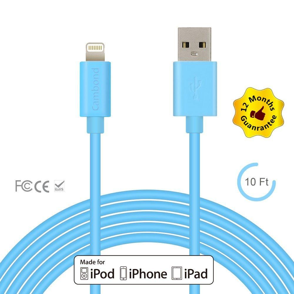 iPhone 6 Charger, Apple Certified Cambond® 10 ft Long Certified iPhone Cable